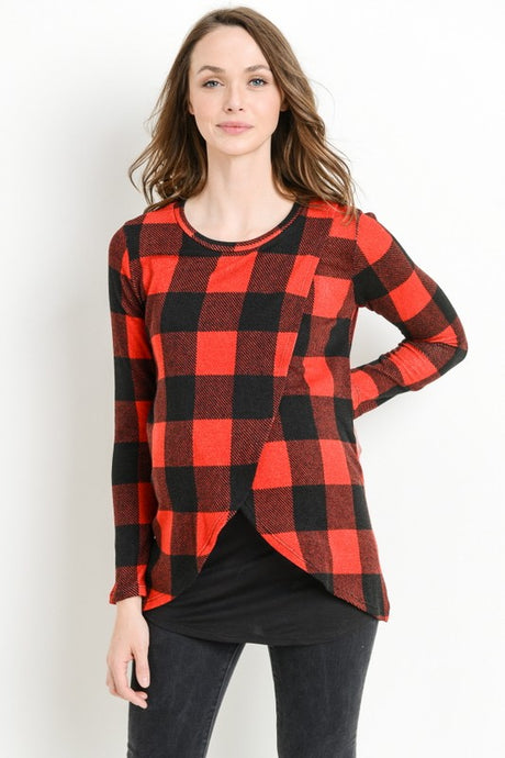 Buffalo Plaid Sweater Knit Nursing Top