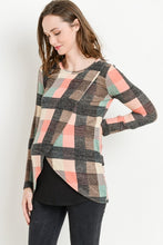 Load image into Gallery viewer, Pink Plaid Sweater Nursing Top