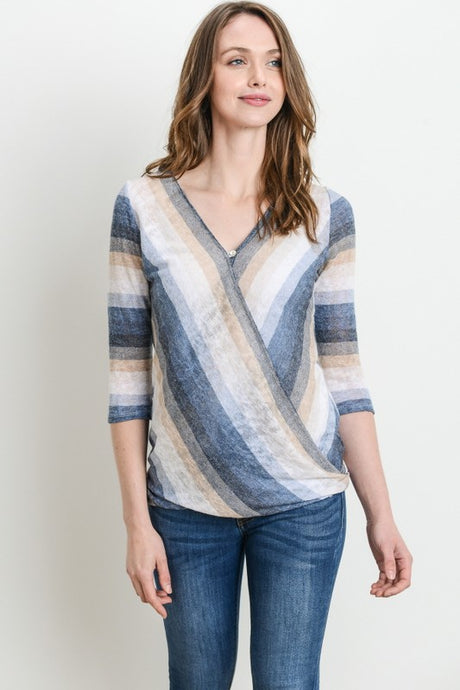 Stripe 3/4 Sleeve Nursing Top