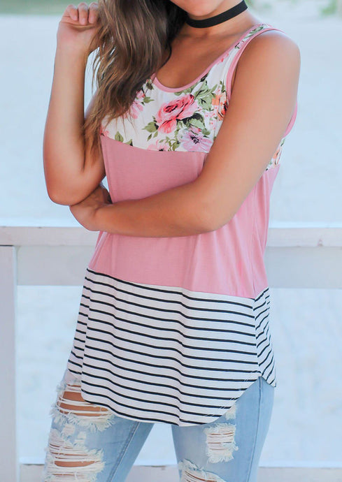 Pink Floral Striped Nursing Top