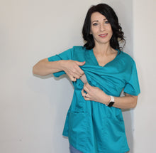 Load image into Gallery viewer, Pumping Friendly Scrub Top-Patent Pending