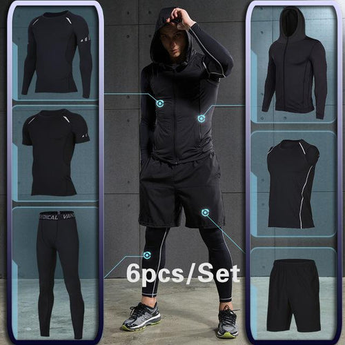 Men's Compression Sportswear Suits (6PC Set) + Knee Magnetic Vibration Heating Massage
