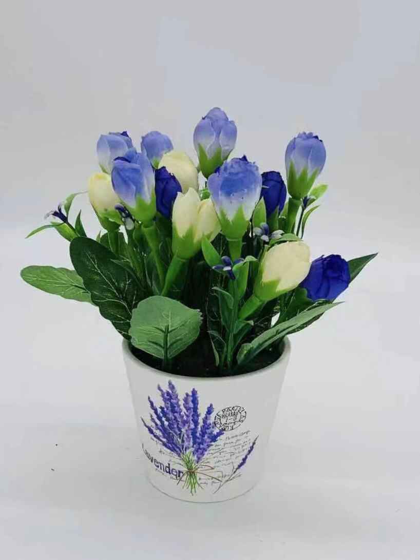 51-JM-FF05087, Artificial Potted Rose Flowers ($15.90 for 6)