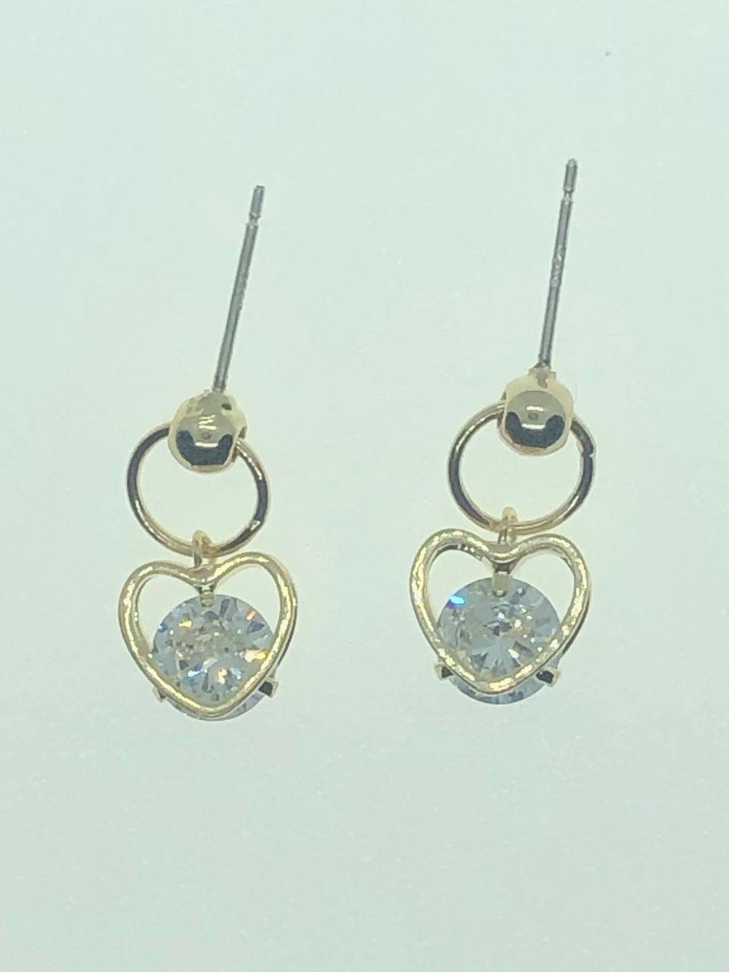 22-JM-JA05041, Heart Pendant Zircon Diamond Earring ($22.80 for 12)
