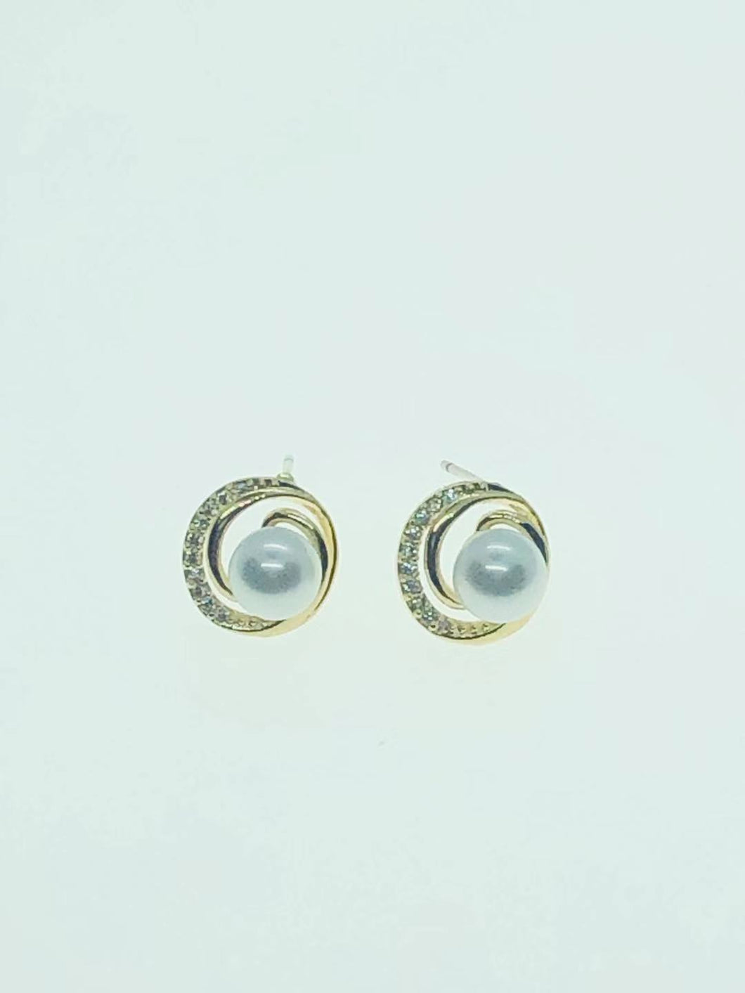 22-JM-JA05040, Faux Pearl in Circle Earring