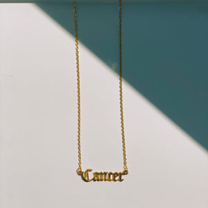 Cancer Zodiac Nameplate Necklace - CELESTE SOL Jewelry