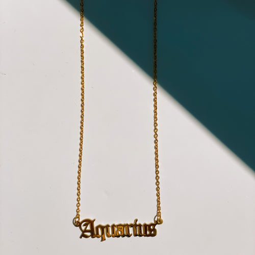 Aquarius Zodiac Nameplate Necklace - CELESTE SOL Jewelry