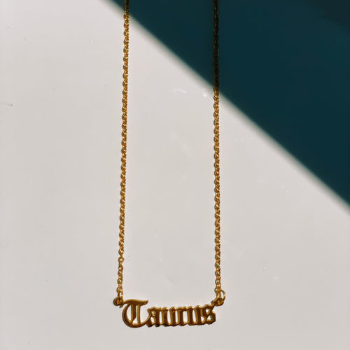 Taurus Zodiac Nameplate Necklace - CELESTE SOL Jewelry