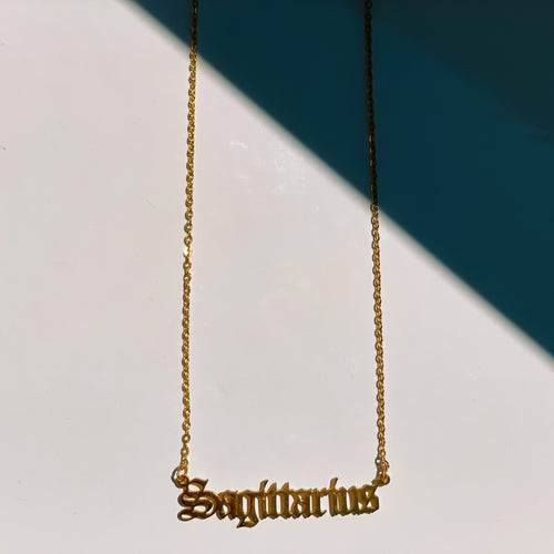 Sagittarius Zodiac Nameplate Necklace - CELESTE SOL Jewelry