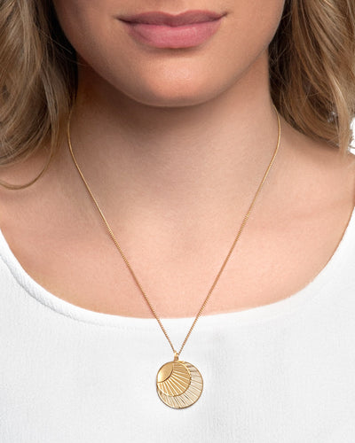 24K Gold Plated Sterling Silver Double SOL Coin Necklace - CELESTE SOL Jewelry