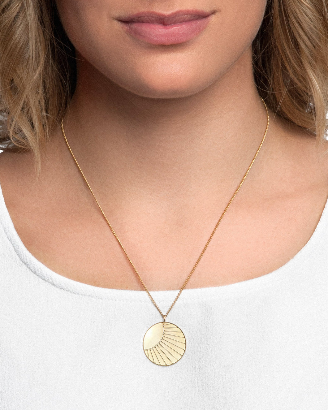24K Gold Plated Sterling Silver Medium SOL Coin Necklace - CELESTE SOL Jewelry