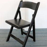 Black Wooden Folding Chairs with Padded Seat