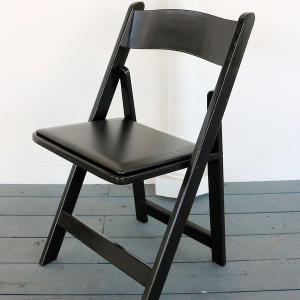 Black Wooden Folding Chairs With Padded Seat Jrb Event