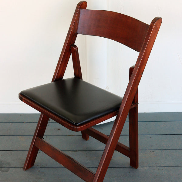 Mahogany Wooden Folding Chairs with Padded Seat