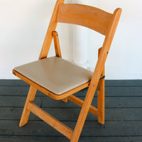 Natural Wooden Folding Chairs with Padded Seat