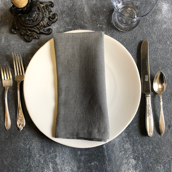 European Linen Napkins in Slate