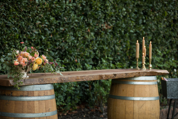 Rustic Wood Wine Barrel Bar