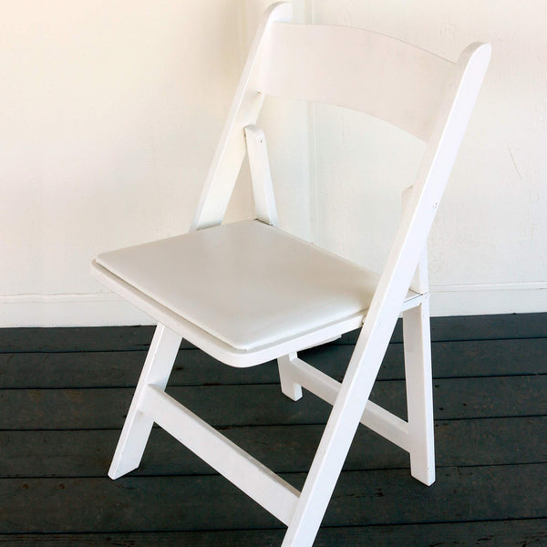 White Wooden Folding Chairs with Padded Seat