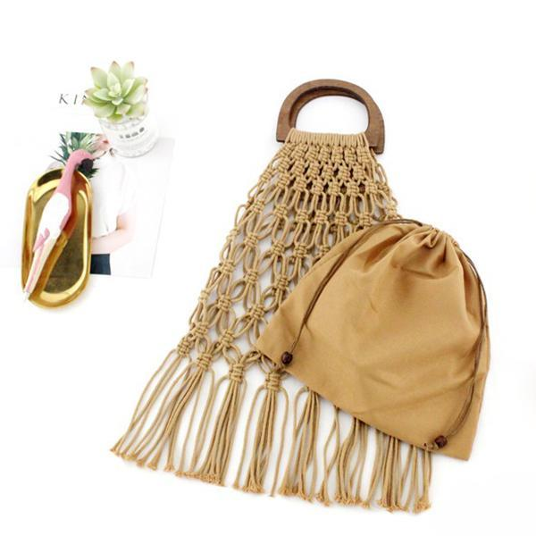 Hand Knitted Hollow Tassel Beach Straw Bag