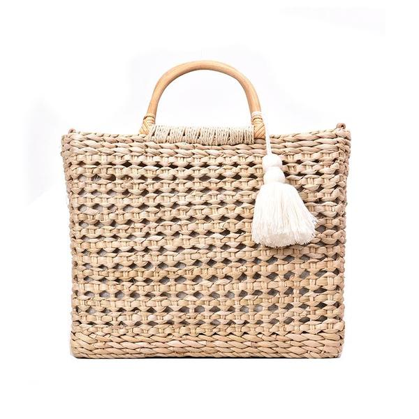 Summer Casual Woman LargeLoading Rattan Woven Portable Slung Tote Bag