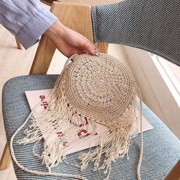 Obangbag 01 / Beige Summer Ladies Bohemian Sloping Straw Rattan Mini Small Cute Beach Bag Handbag Purse