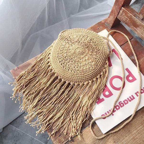 Obangbag 01 / brown Summer Ladies Bohemian Sloping Straw Rattan Mini Small Cute Beach Bag Handbag Purse