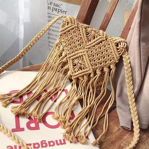 Obangbag 02 / brown Summer Ladies Bohemian Sloping Straw Rattan Mini Small Cute Beach Bag Handbag Purse