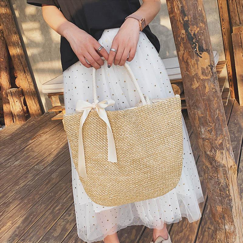 Obangbag Apricot Ladies Summer Rattan Straw Beach Big Tote Bags