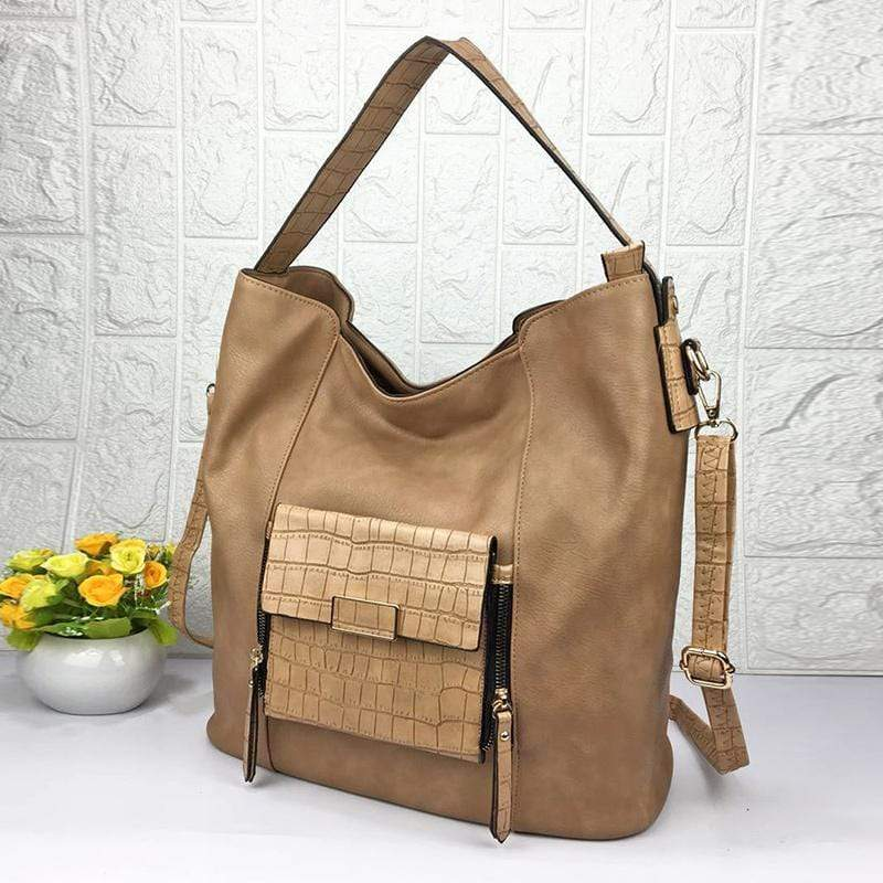 Obangbag Apricot Women Big Stylish Vintage Large Capacity Multi Pockets Leather Shoulder Bag Crossbody Bag