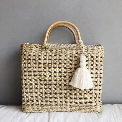 Obangbag Apricot Women Summer Chic Large Capacity Rattan Woven Tote Bag Handbag for Ladies