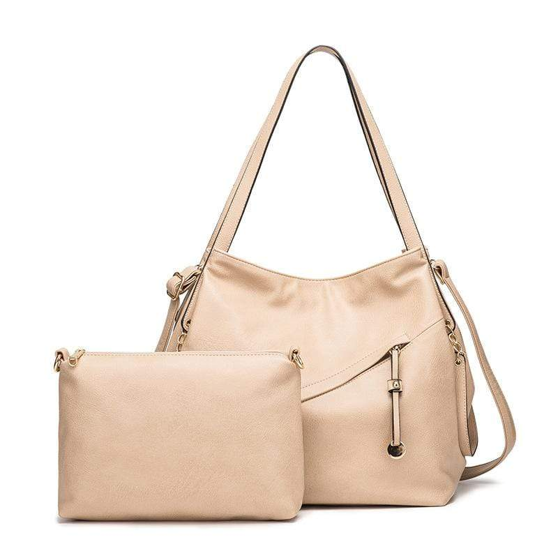 Obangbag Apricot Women Vintage Simple Multi Pockets Anti-theft Soft Leather Bag Set Shoulder Bag Crossbody Bag