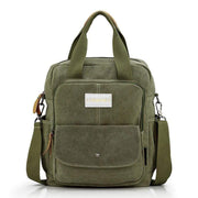 Obangbag Army Green Multi Function Unisex Canvas Messenger Bag Backpack