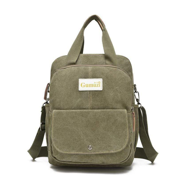 Obangbag Army Green Unisex Multi Funciton Retro Canvas Messenger Shoulder Bag Backpack
