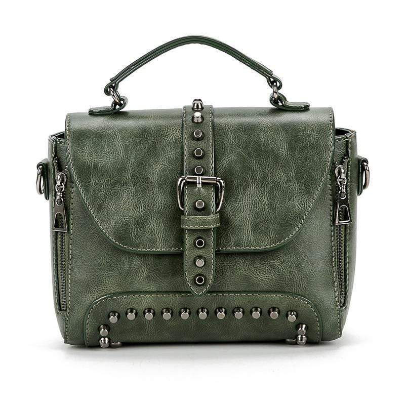 Obangbag Army Green Vintage Oil Leather Luxury Handbags Retro Shoulder Bag