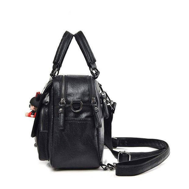 Obangbag Backpack Female Anti-theft Professional Soft Leather Simple Style Backpack
