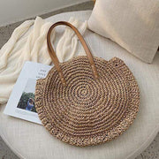 Obangbag Bag 01 / Brown Summer Hand Woven Round Straw Beach Handbag Bohemian Straw Hat