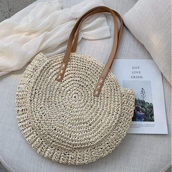 Obangbag Bag 01 / White Summer Hand Woven Round Straw Beach Handbag Bohemian Straw Hat