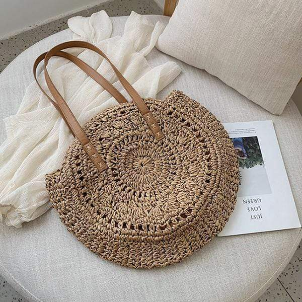 Obangbag Bag 02 / Brown Summer Hand Woven Round Straw Beach Handbag Bohemian Straw Hat