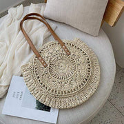Obangbag Bag 02 / White Summer Hand Woven Round Straw Beach Handbag Bohemian Straw Hat