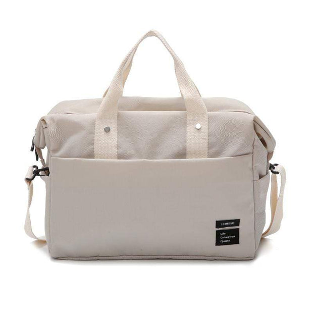 Obangbag Beige Multifunctional Large Capacity Handbag Messenger Bag Luggage Bag Travel Bag