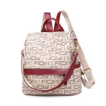 Obangbag Beige Retro Letter Printing Leather Backpack