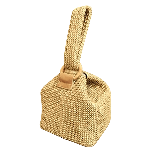 Obangbag Beige Summer Wild Fashion Straw Rattan Braided Square Bucket Bag Party Bag Beach Bag Handbag for Ladies