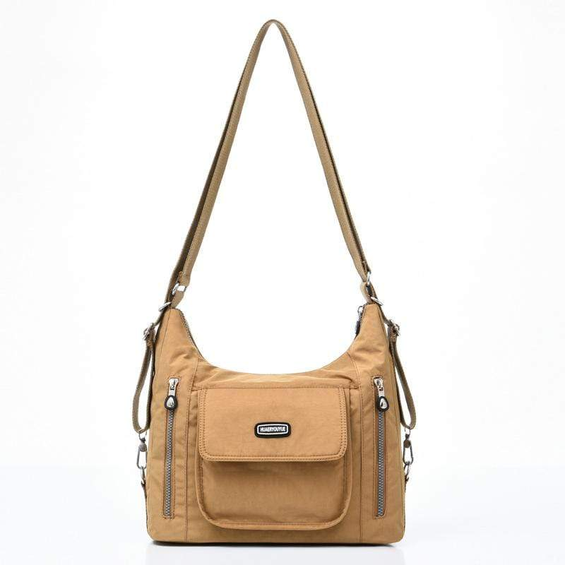 Obangbag Beige Women Casual Multifunction Large Capacity Lightweight Multi Pockets Nylon Backpack Shoulder Bag