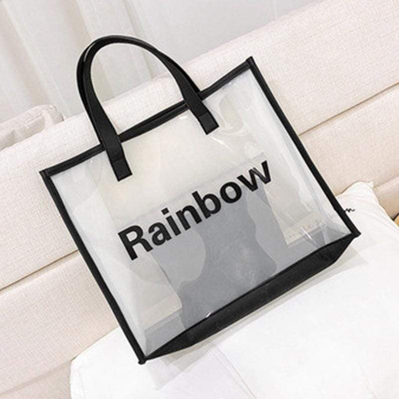 Obangbag Beige Women Chic Large Capacity Clear Transparent Spring Summer PVC Tote Bag Bag Set