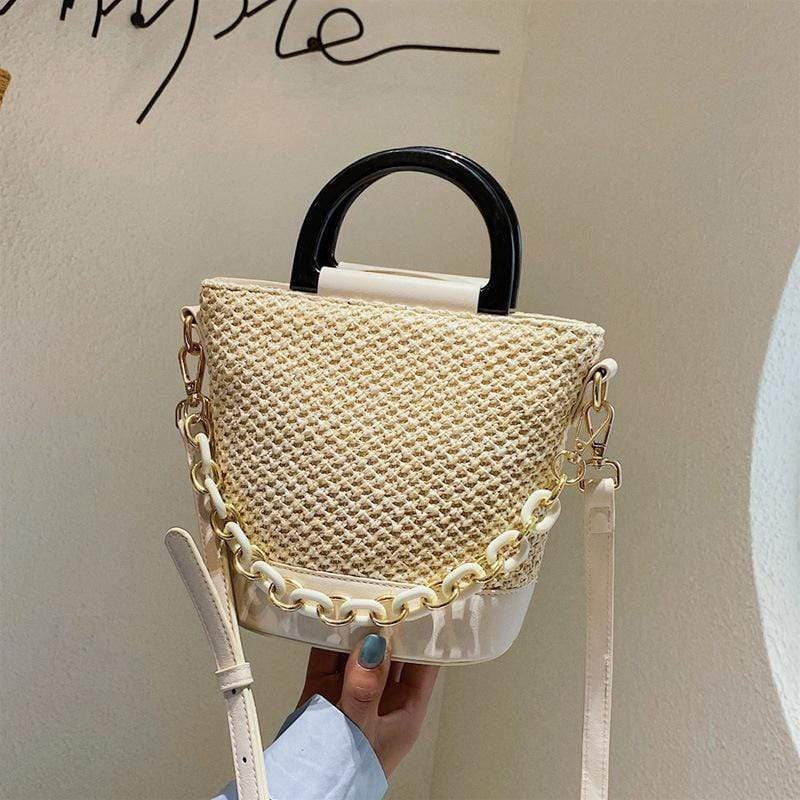 Obangbag Beige Women Chic Lightweight Roomy Woven Summer Sring Straw Bucket Bag Crossbody Bag for Work