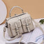 Obangbag Beige Women Chic Stylish Multi Pockets Roomy Multifunction Leather Boston Bag Handbag Crossbody Bag Backpack