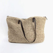 Obangbag Beige Women Summer Stylish Straw Woven Large Beach Tote Bag