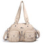 Obangbag Beige Women Vintage Fashion Professional Multi Pockets Roomy Soft Leather Shoulder Bag Crossbody Bag