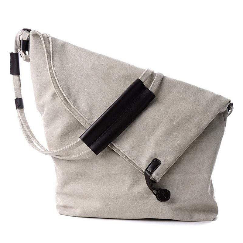 Obangbag Beige Women Vintage Fashion Simple Large Capacity Multifunction Canvas Shoulder Bag Crossbody Bag for School