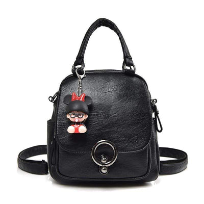 Obangbag Black Backpack Female Anti-theft Professional Soft Leather Simple Style Backpack